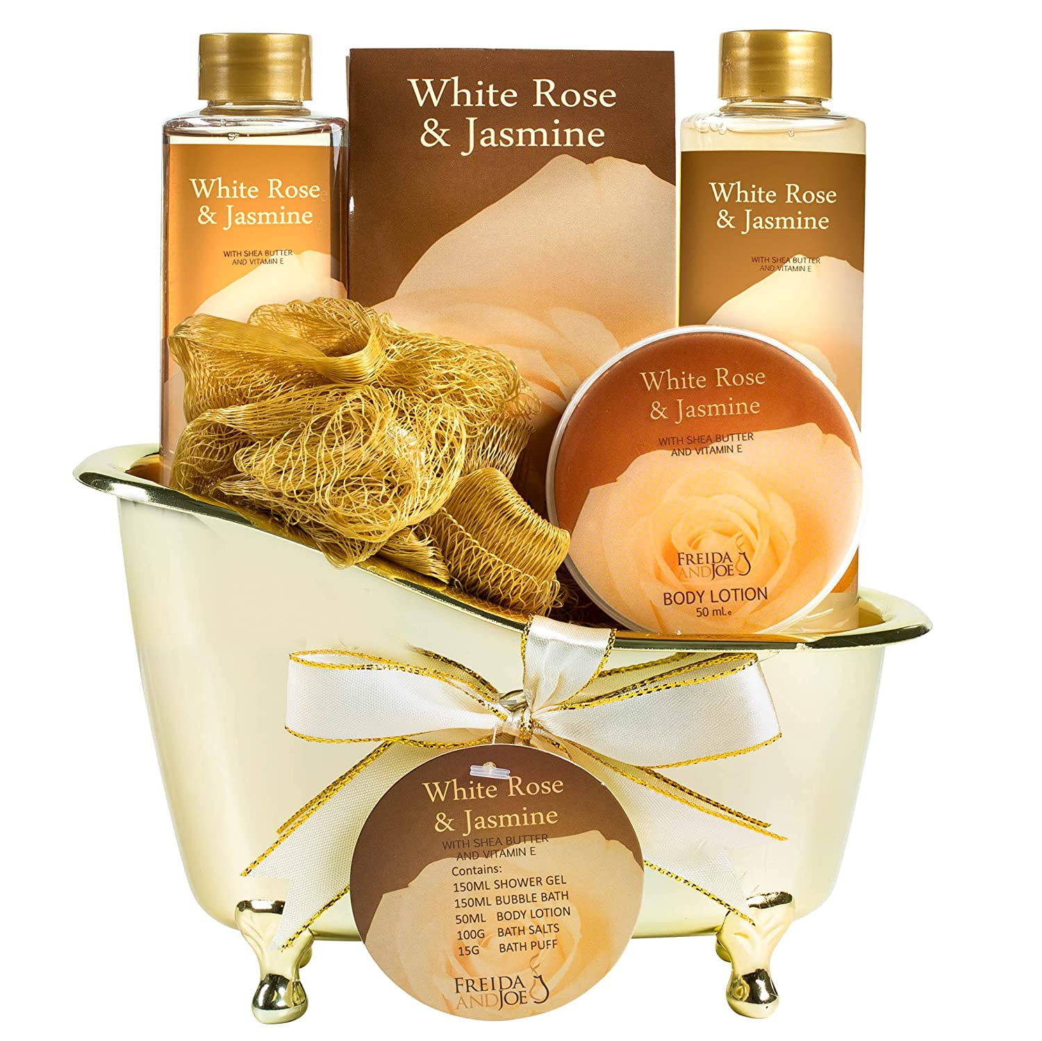 Home Spa Gift Basket - White Rose Jasmine Spa Set For Women - Luxury Bath & Body Set For Women - Contains Shower Gel, Bubble Bath, Body Lotion, Jasmine Bath Salt and Pouf Displayed in Elegant Gold Tub : Bath And Shower Product Sets : Beauty