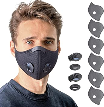 Yuikio Reusable Face Mask With Breathing Valve Breathable Black Face Masks With 6 Carbon Filters And 2 Valves Personal Protective Adjustable Nylon Sport Mask For Running Cycling Woodworking Amazon Com