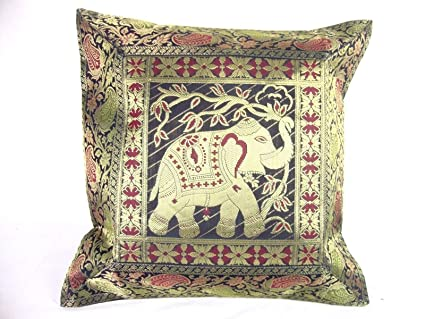 Amazon Ganesham Handicraft Indian Ethnic Hand Decorative Silk Inspiration Indian Silk Decorative Pillows