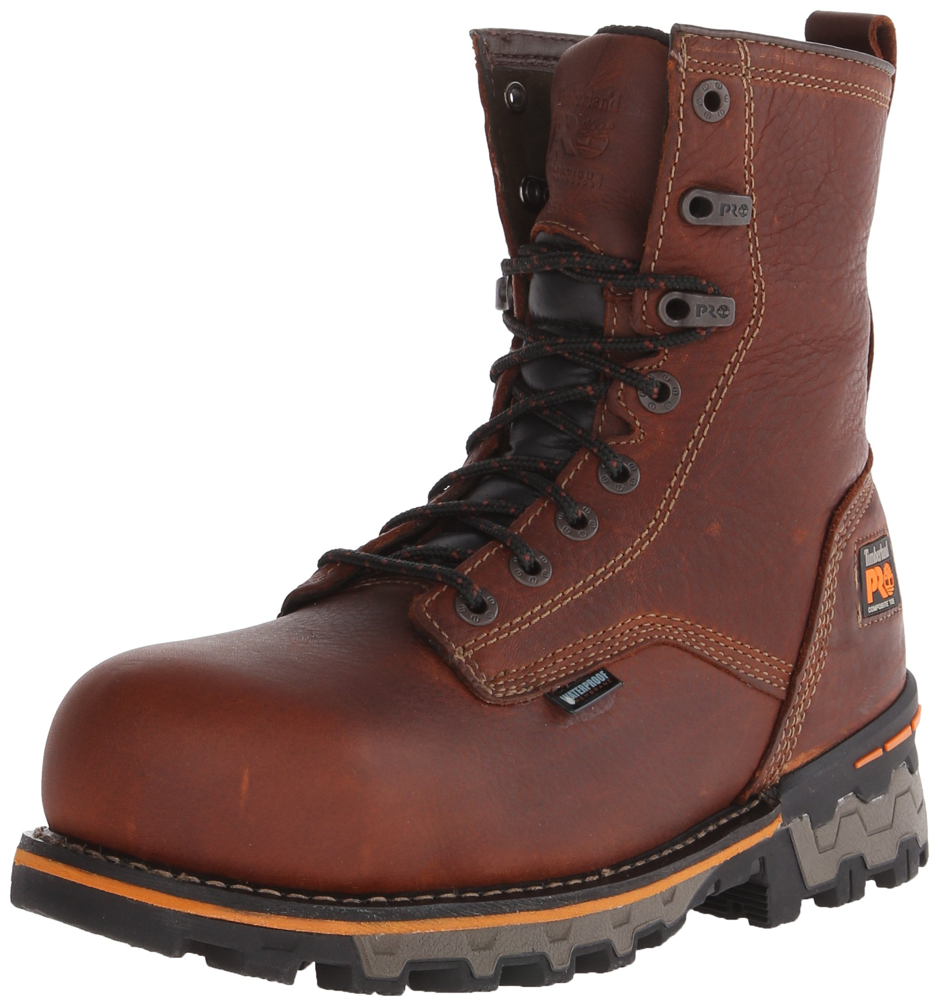 Timberland PRO Men's 8 Inch Boondock Composite Toe Waterproof Work and Hunt Boot, Brown Tumbled Leather, 7 W US by Timberland PRO (Image #1)
