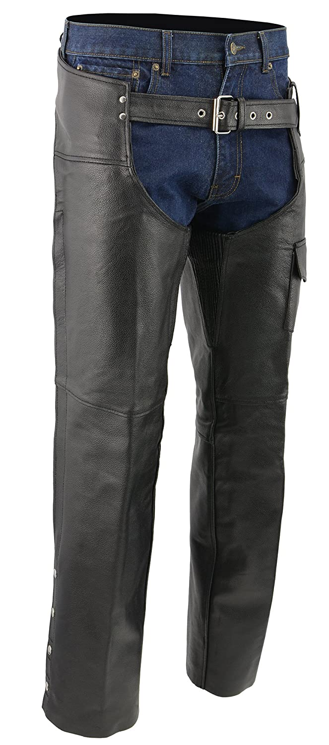M-BOSS MOTORCYCLE APPAREL-BOS15504-BLACK-Men' s leather chaps - zip-out insulated and lined plain biker motorcycle chaps.-BLACK-LARGE BOS15504-BLACK-LARGE