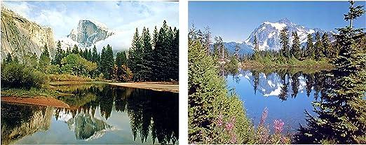 Mountain Scenery And Yosemite Valley Landscape Two Set 8x10 Wall Decor Art Print