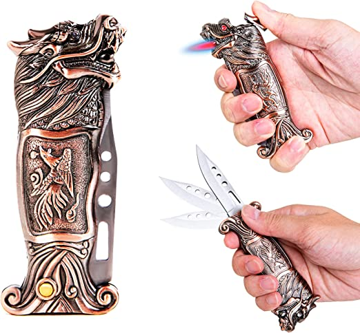 Jet Torch Lighter with a One-Click Ejection Knife, Windproof Cool Lighter Metal Dragon Design, for Father's Day, Refillable Butane Lighters for Smoking, Camping, Sports, Self-Defense.