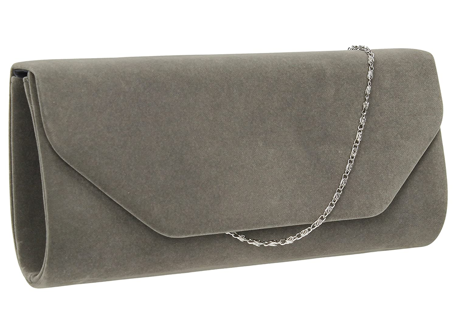 ce29c15c56e9 Isabella Velvet Womens Half Envelope Style Clutch Bag in Grey   Amazon.co.uk  Shoes   Bags