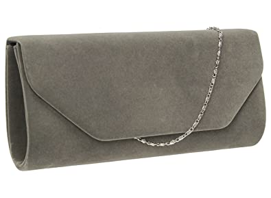 3e21f5159305 Isabella Velvet Womens Half Envelope Style Clutch Bag in Grey ...