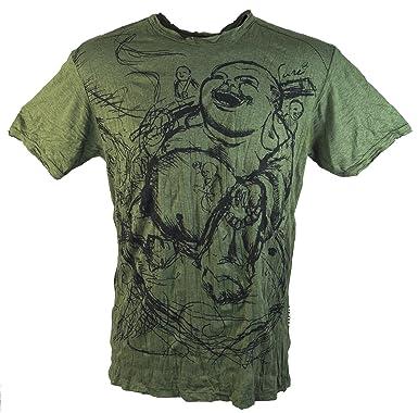 Guru-Shop Sure T-Shirt Happy Buddha, Herren, Olive, Baumwolle, Size:M, Sure`  T-Shirts Alternative Bekleidung: Amazon.de: Bekleidung
