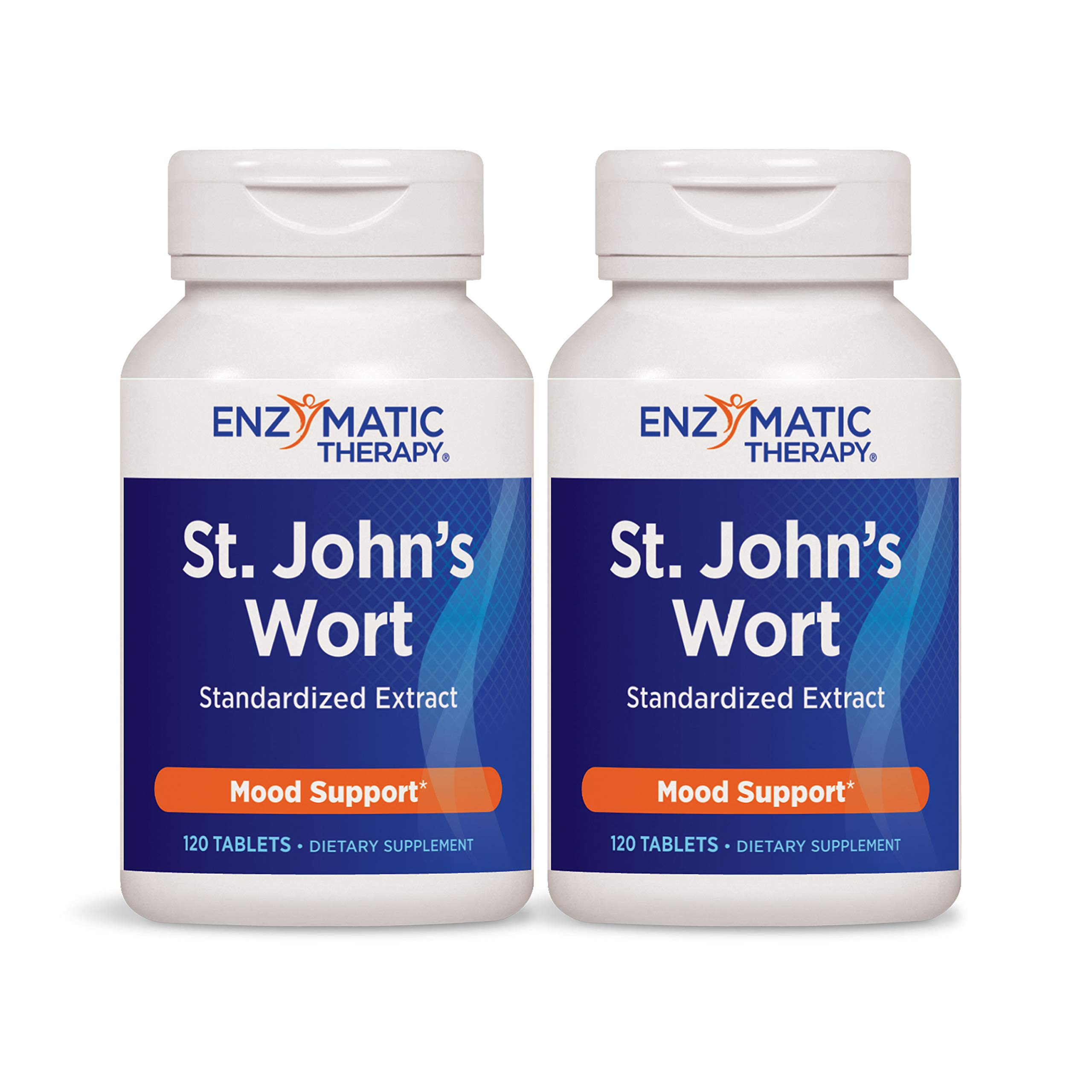 Enzymatic Therapy St. John's Wort Standardized Extract Mood Support, 120 Count (Pack of 2)