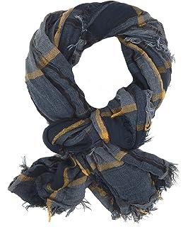 Ella Jonte Herrenschal grau schwarz blau breiter weicher Schal Baumwolle Viskose