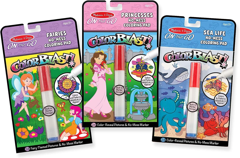 Melissa & Doug On the Go ColorBlast! Activity Books Set - Fairy, Princess, and Sea Life
