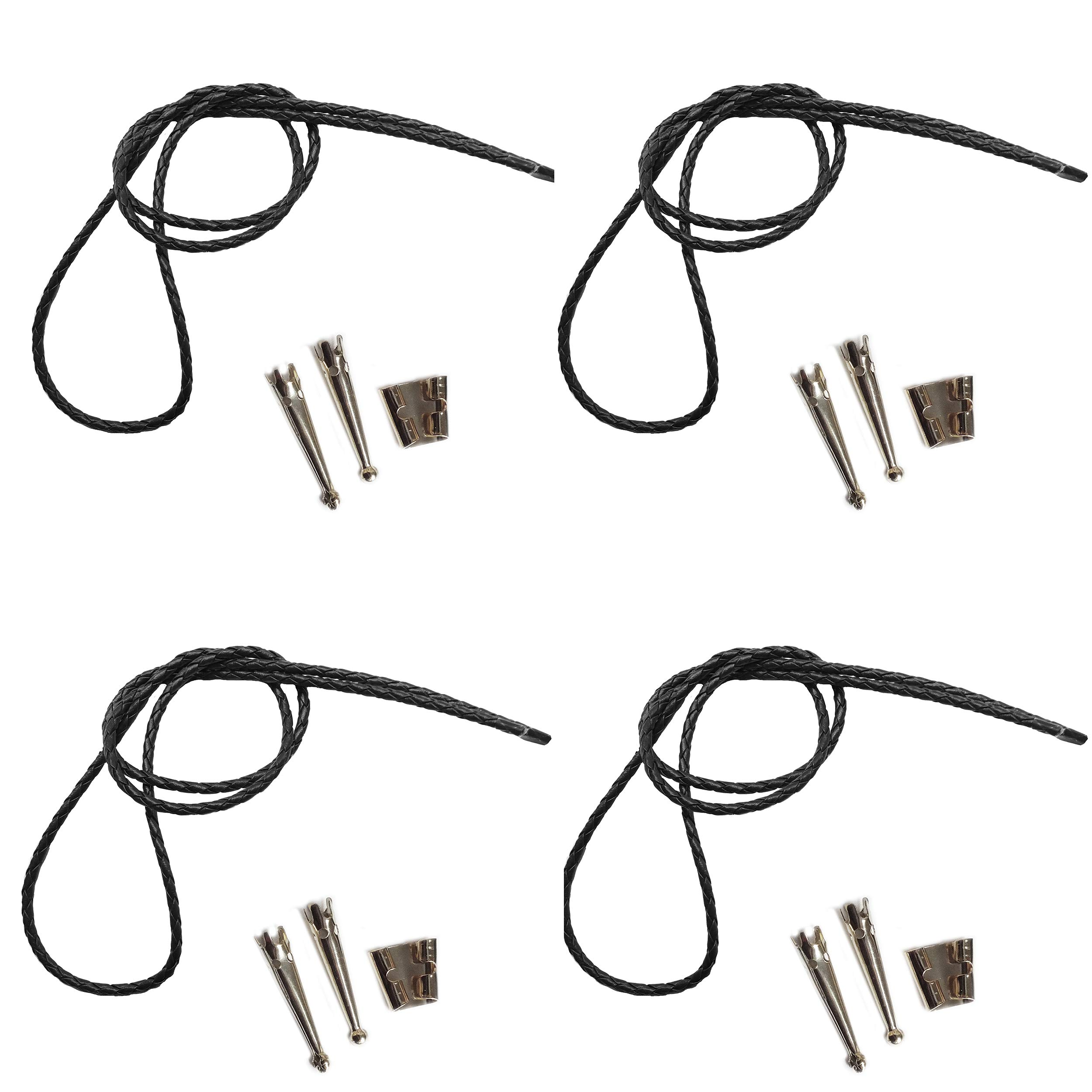 Blank Bolo String Tie Parts Kit Standard Slide Smooth Tips Black Vinyl Braid DIY Silver Tone Supplies for 4 Ties by BeadExplosion