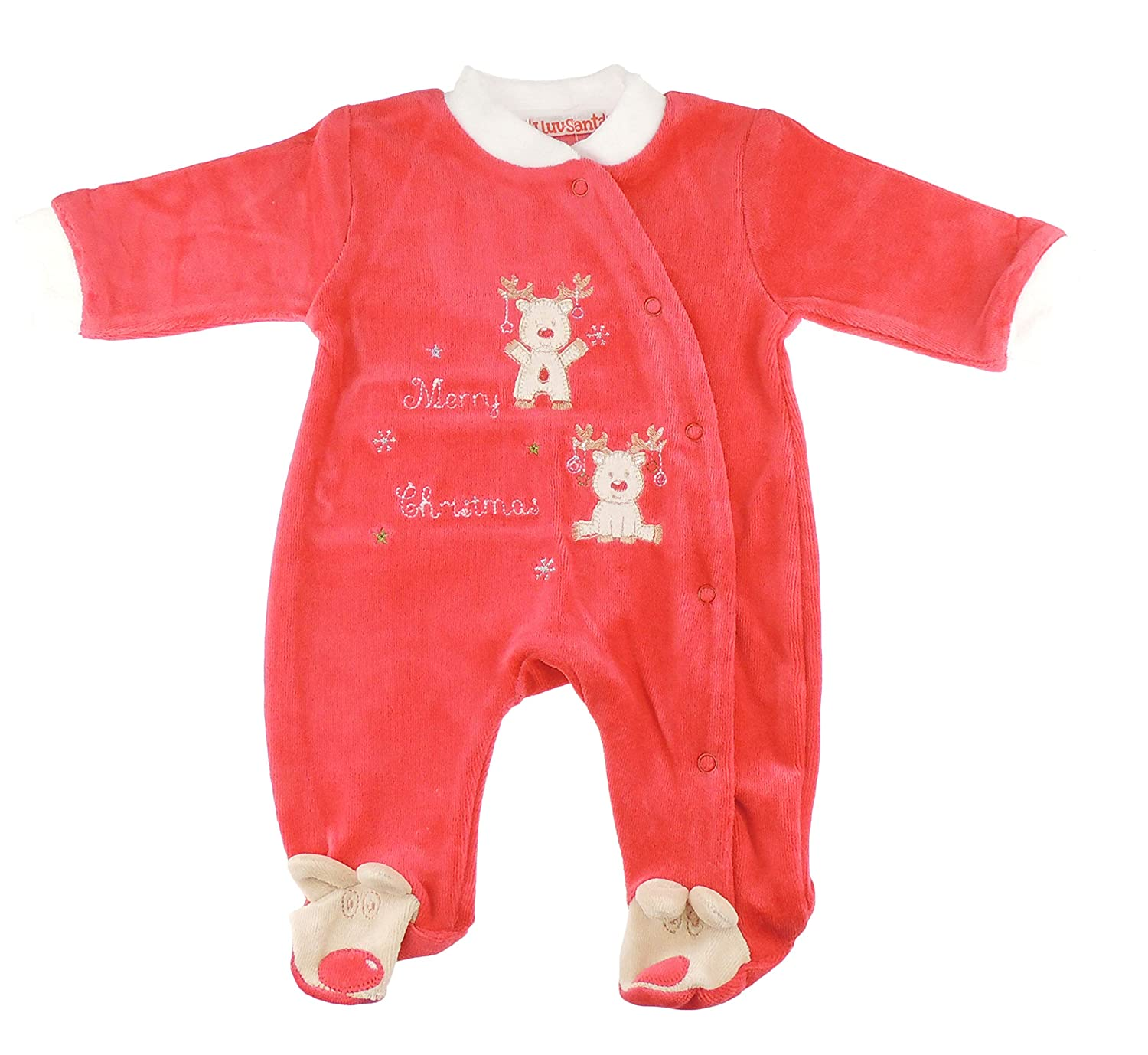 Festive Christmas Winter Baby Girls Boys Velour Romper Sleeper All in One Red Little Reindeers Outfit (3-6 Months)