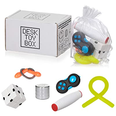Desk Toy Box for Stress Relief and Anxiety, Adults Kids | 6 Pack Set | Kinetic Spinning Desk Toy, Fidget Pad, Sensory Stretch Toy, Infinity Cube, Fidget Stick | EDC Fidget Toy for Stress, Anti-Anxiety: Toys & Games
