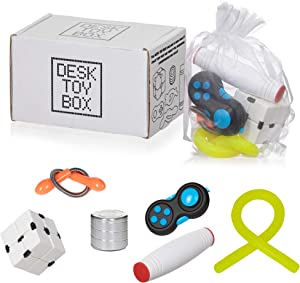 Desk Toy Box for Stress Relief and Anxiety, Adults Kids | 6 Pack Set | Kinetic Spinning Desk Toy, Fidget Pad, Sensory Stretch Toy, Infinity Cube, Fidget Stick | EDC Fidget Toy for Stress, Anti-Anxiety