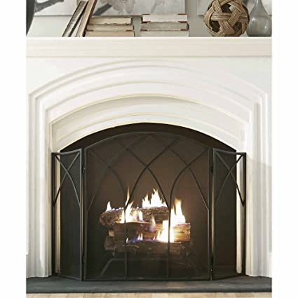 Black Pleasant Hearth Gothic Fireplace Screen