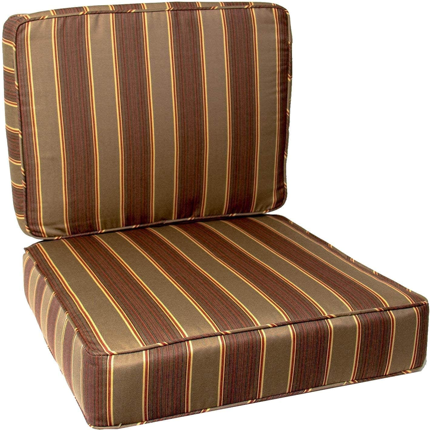BBQGUYS Sunbrella Davidson Redwood Large Outdoor Replacement Club Chair Cushion Set W/Piping