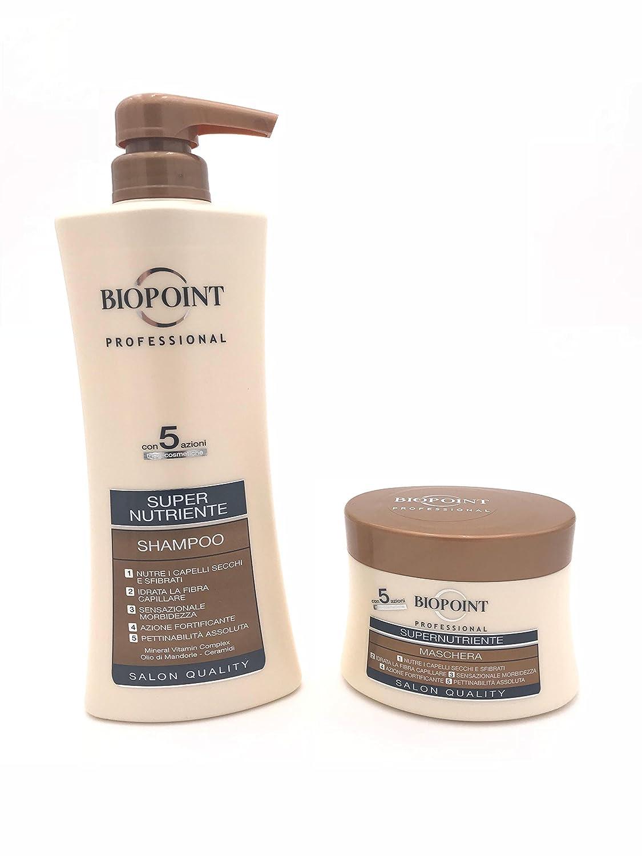 Biopoint - Kit para cabello supernutritivo. Champú de 400 ml + máscara de 250 ml | Línea Professional Salon Quality. Ideal para cabello seco y dañado: ...