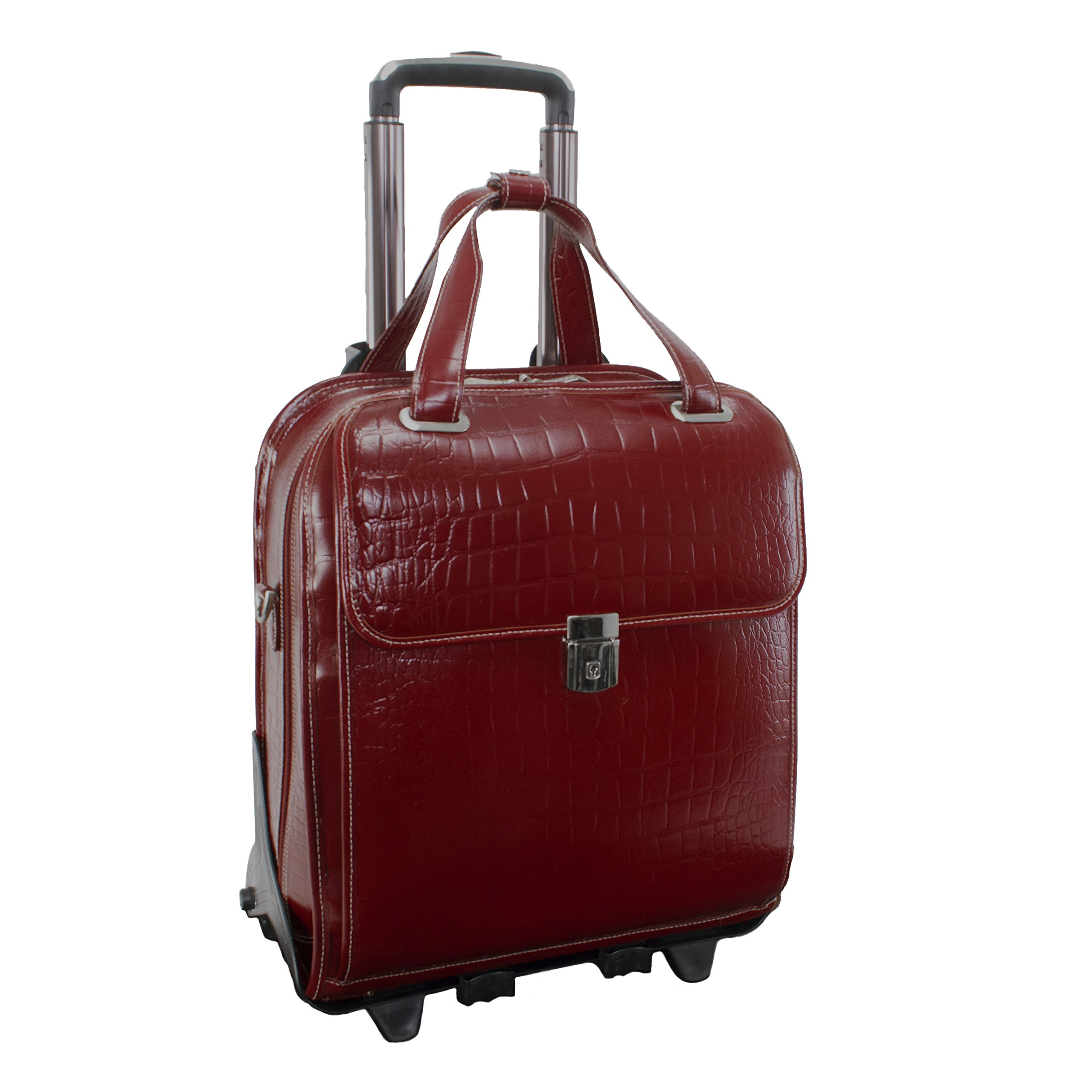 Siamod NOVEMBRE 35326 Red Leather Ladies' Detachable-Wheeled Laptop Case