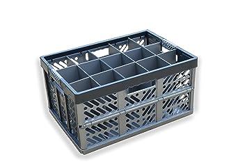 Cristal Caja de almacenaje – plegable container- 15 celdas, plegable caja de plástico,