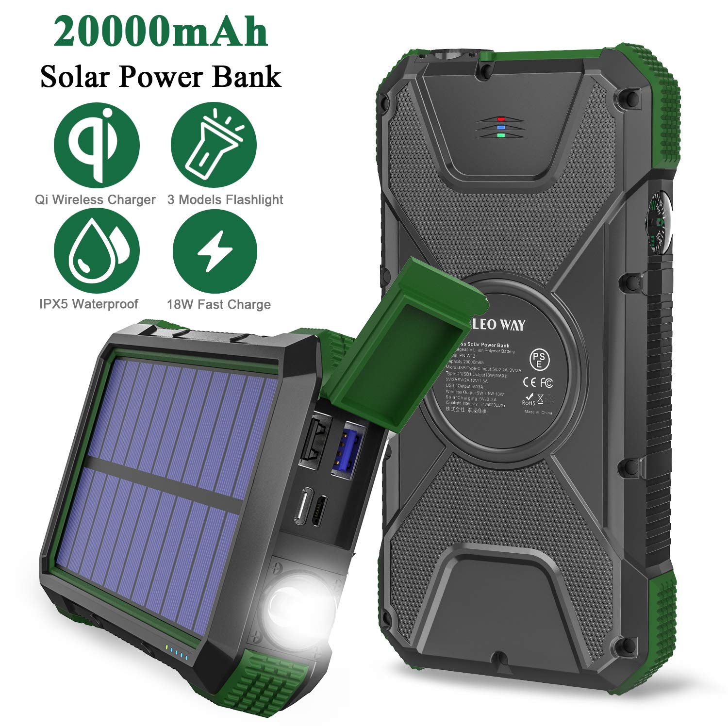 Solar Charger Power Bank 20000mAh, 18W QC3.0 and PD Fast Charging Portable Outdoor Wireless Charger 10W/7.5W/5W with 4 Outputs & Dual Inputs, External Battery IPX5 Waterproof with Flashlight Compass by LEO WAY