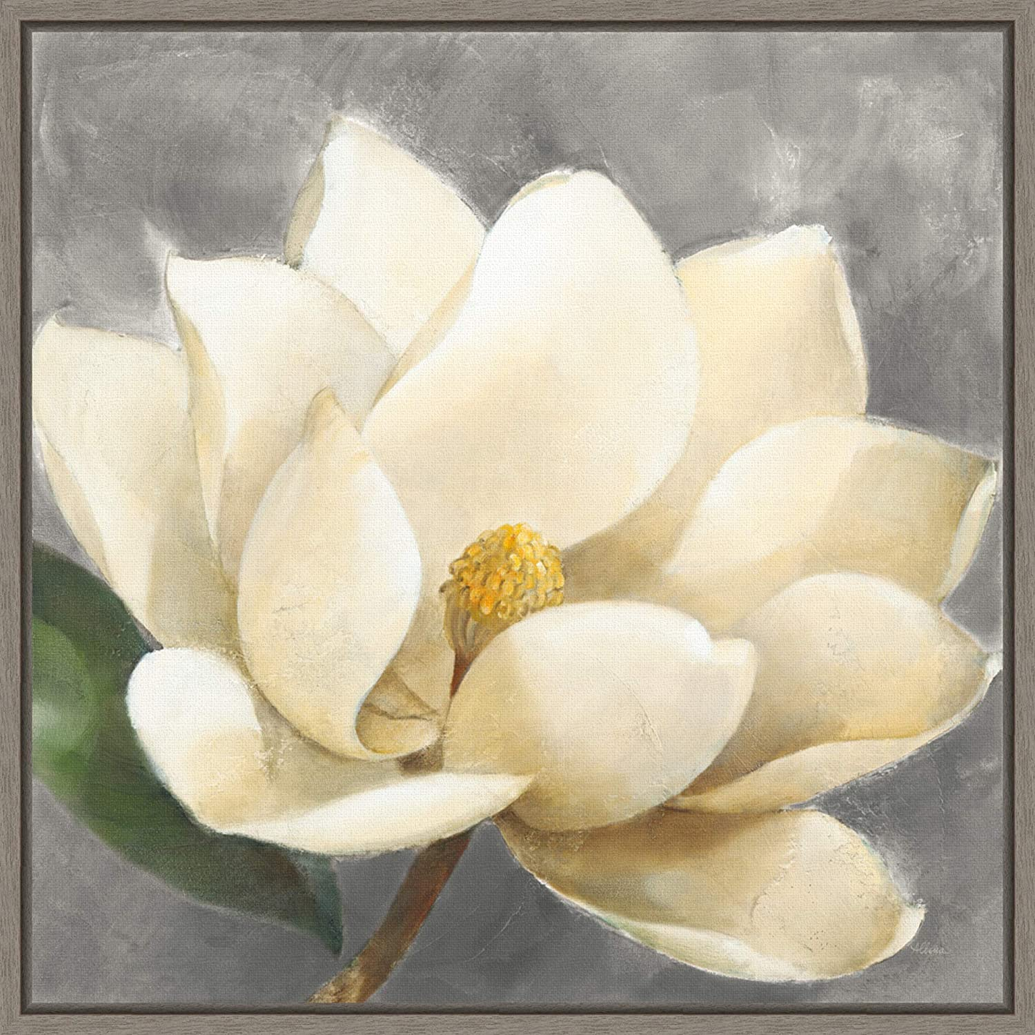 Blue Magnolia Blossom Stretched Canvas Print Framed Wall Home Office Shop Decor