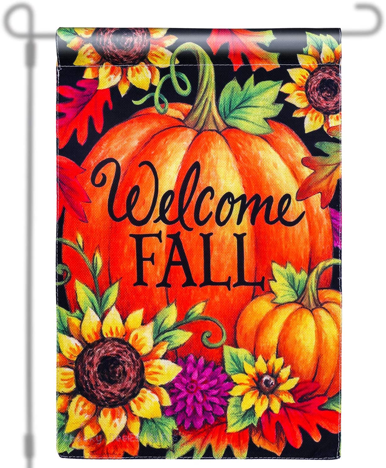 Konsait Thanksgiving Welcome Fall Garden Flag , Pumpkin Sunflower Patch Flag for Autumn and Thanksgiving Day Decoration, Home Outdoor Yard Flag Double Sided, Burlap, Durable, Weather Resistant, 18.5 x 12.2 Inch