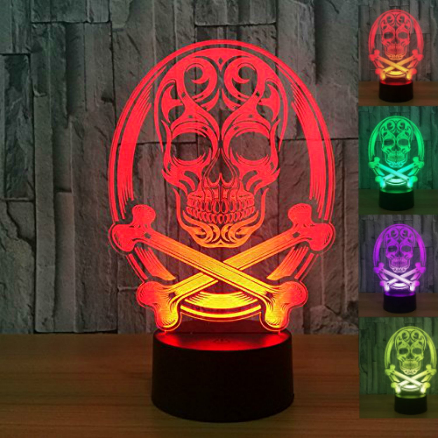 3D Skull Night Light USB Touch Switch Decor Table Desk Optical Illusion Lamps 7 Color Changing Lights LED Table Lamp Xmas Home Love Brithday Children Kids Decor Toy Gift