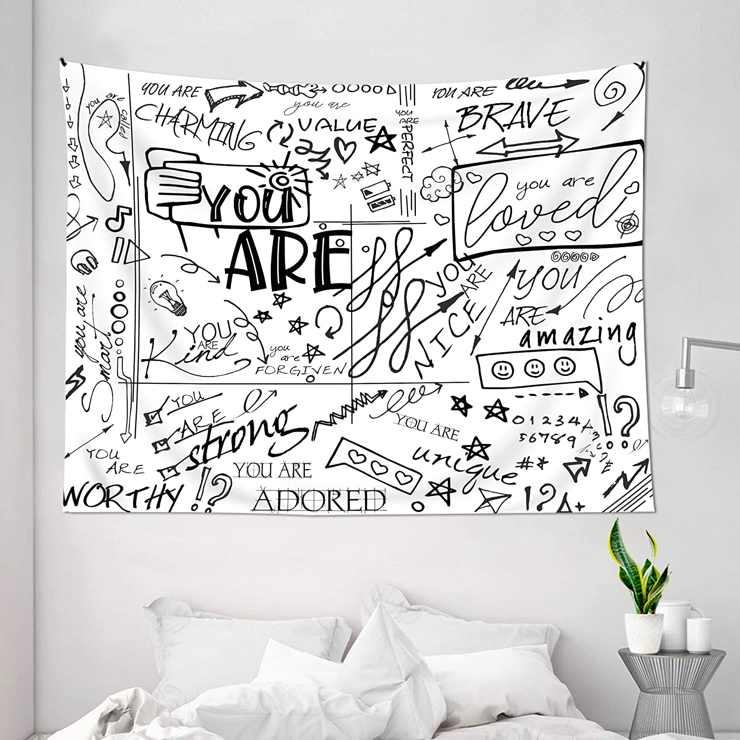 Ambsunny Quote You Are Tapestry 51Hx59W Letter Wall Art Positive Saying Vintage Art Wall Hanging Bedroom Living Room Dorm Decor Fabric Black White