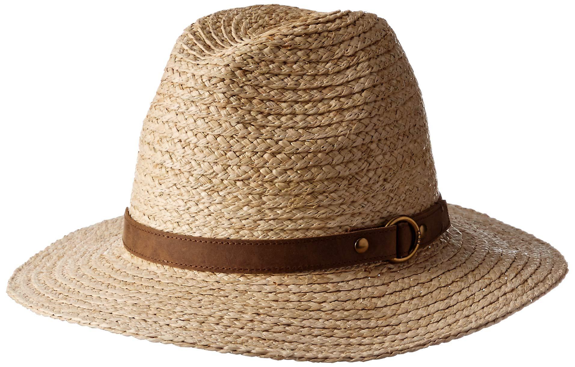 Frye Headwear Women's Frye Raffia Harness Fedora, Sand Small/Medium