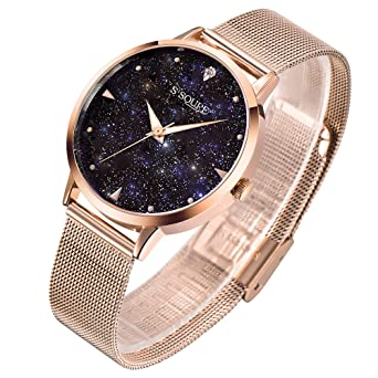 fd79cc44bf S2SQURE 腕時計 レディース 星 日本製クオーツ おしゃれ 女性 ステンレス ウォッチ ローズゴールド 夜光 (ゴールド