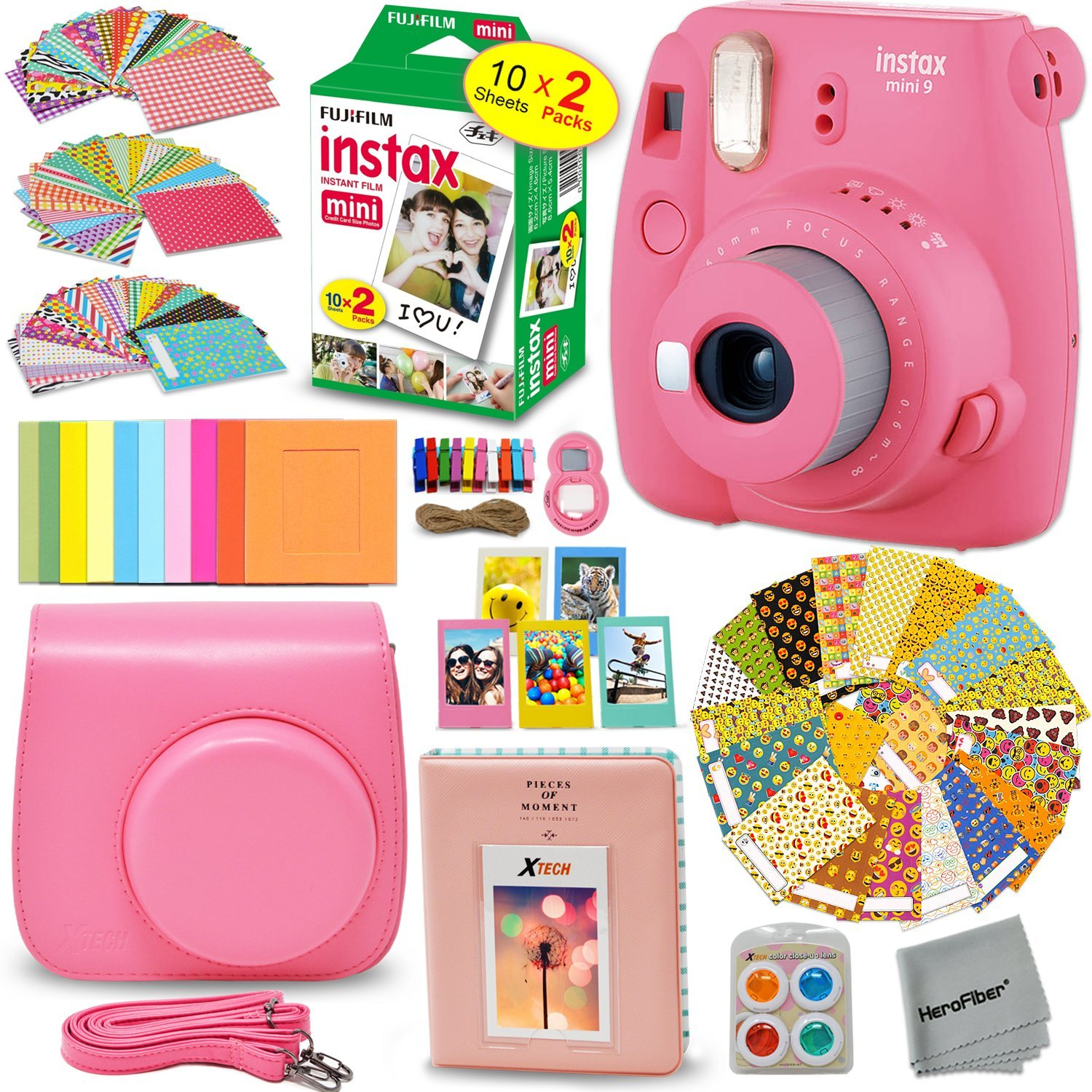 FujiFilm Instax Mini 9 Instant Camera FLAMINGO PINK + EMOJI Film stickers + Fuji INSTAX Film (20 Sheets) + Custom Fitted Case + Instax Album + Colorful Stickers + Fun Frames + 4 Colored Filters + MORE by HeroFiber