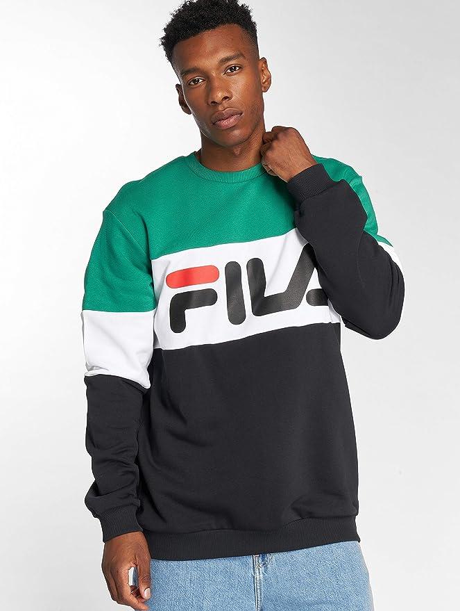 Fila Sweatshirt Herren Urban Line Sweatshirt Straight Blocked Crew 681255  I82 Black Bright White Shady Glade