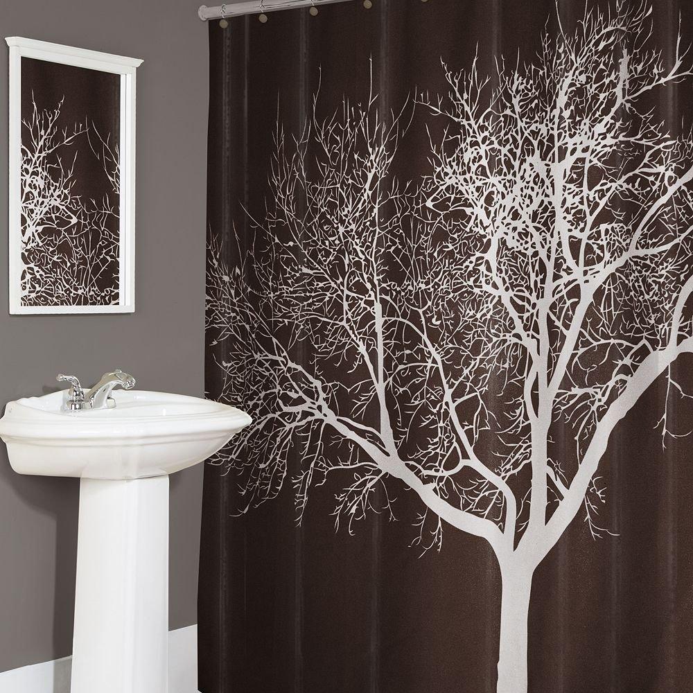 dark brown shower curtain.  Amazon com Tree Shower Curtain Chocolate 70x72 Home Kitchen