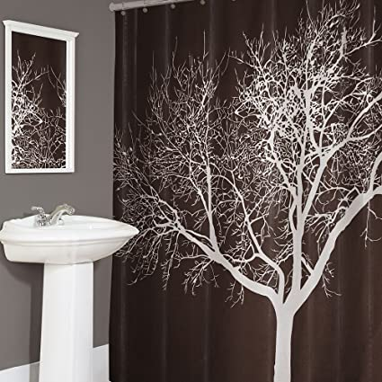 Splash Home Tree Polyester Fabric Shower Curtain 70quot X 72quot Inches Chocolate