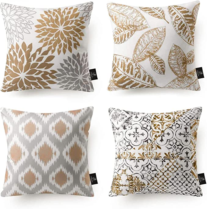 Phantoscope Set of 4 New Living Series Coffee Color Decorative Throw Pillow Case Cushion Cover