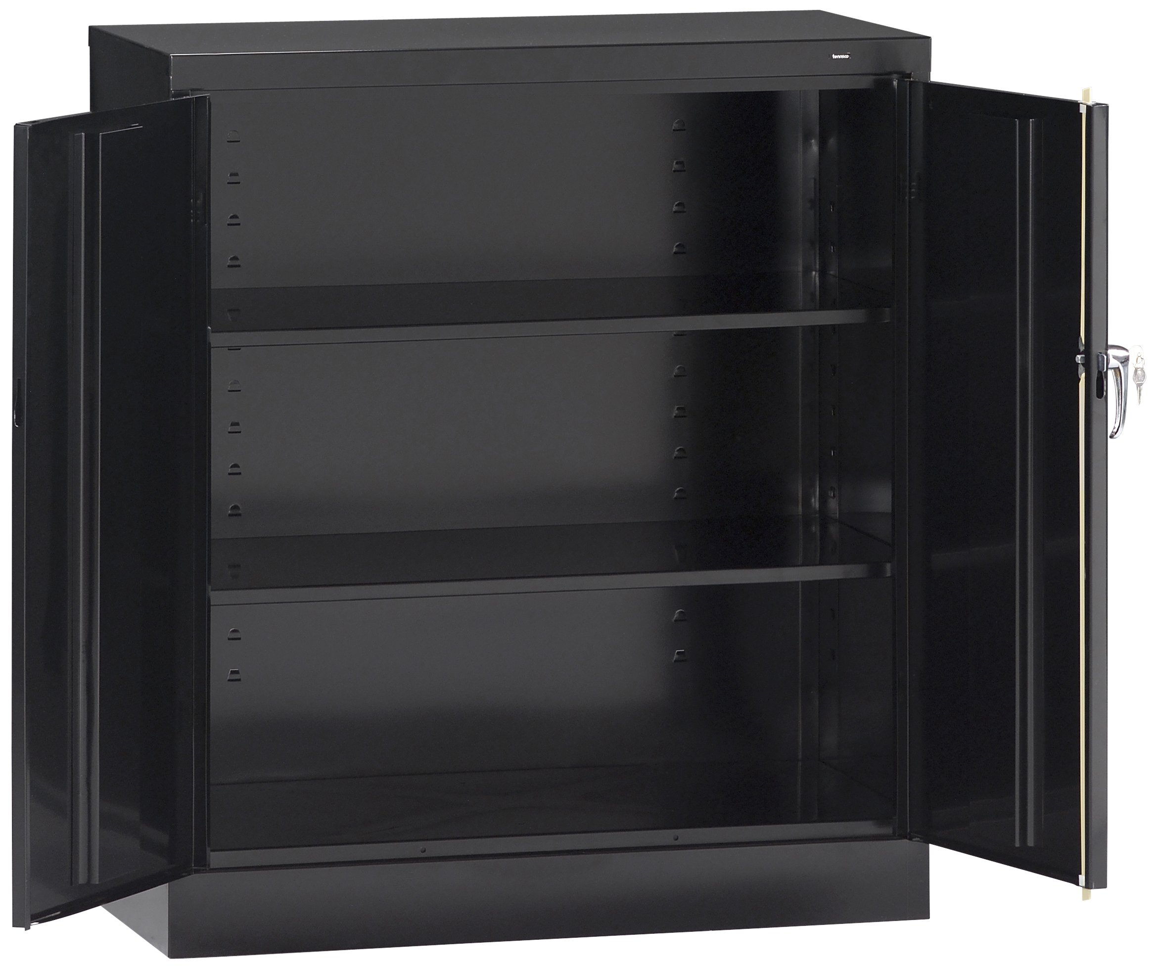Tennsco 4218 24 Gauge Steel Standard Welded Counter High Cabinet, 2 Shelves, 150 lbs Capacity per Shelf, 36'' Width x 42'' Height x 18'' Depth, Black