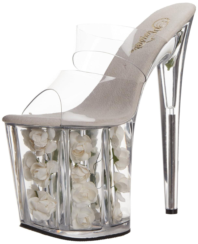 Pleaser Women's Flamingo-802 Platform Sandal B00B472236 11 B(M) US|Clear/White Flowers