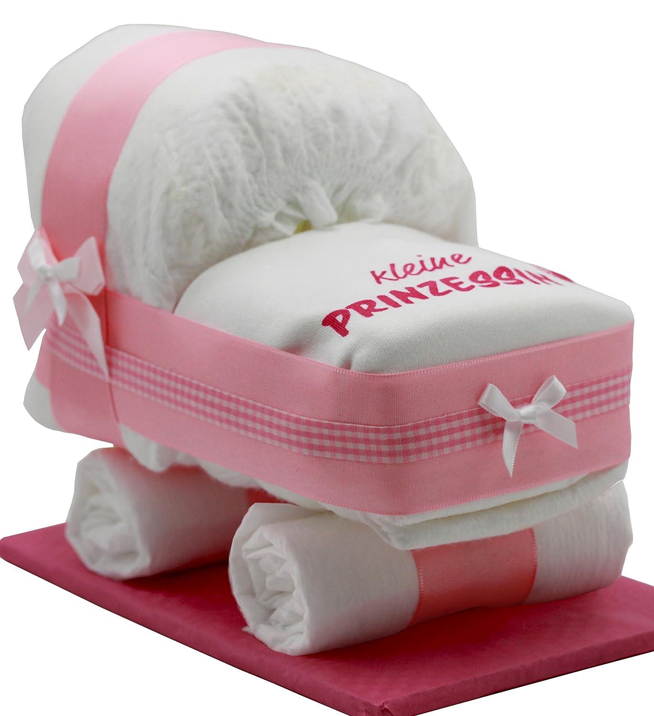 'Gâteau de couches/chariot rose pour filles–Couches avec bavoir