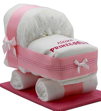 """Tarta Pañales Pañales carro Color Rosa Para Niñas – con babero """"Princesa –"""