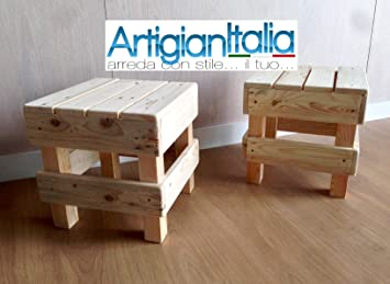 Coppia n°2 sgabello puff pouf sedia in legno design panca per bar
