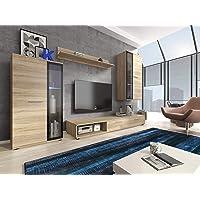 furniture24_eu Wohnwand Anbauwand Pino Sonoma Eiche mit LED Beleuchtung
