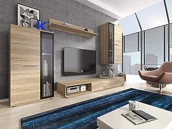 Furniture24 Eu Wohnwand Anbauwand Pino Sonoma Eiche Mit Led Beleuchtung