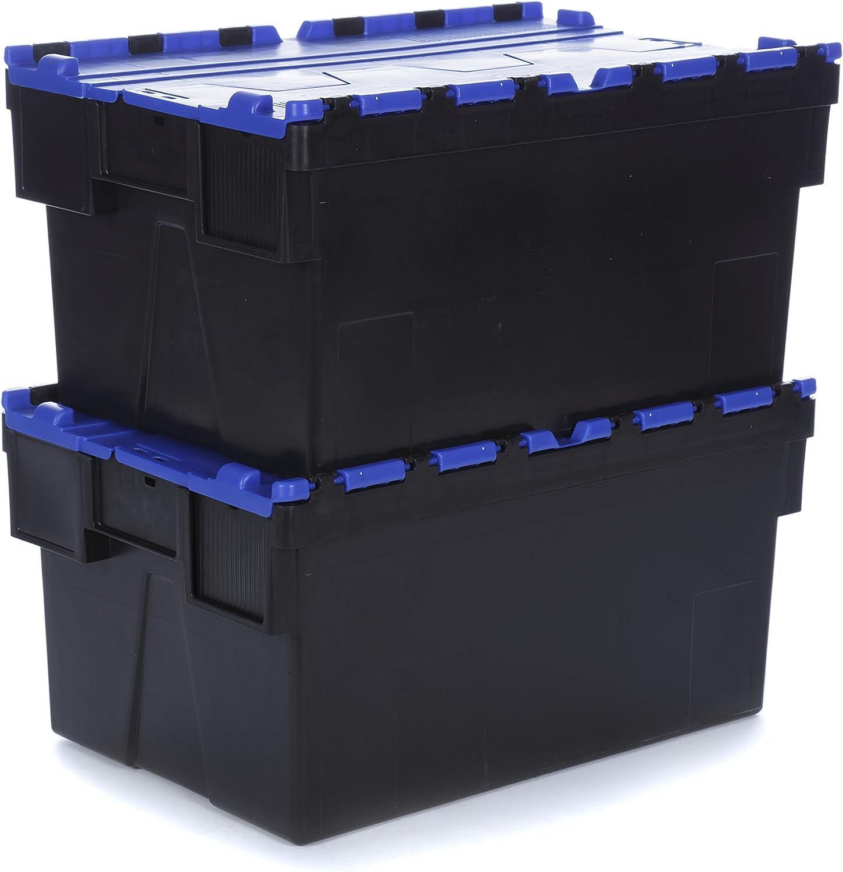 Racking Solutions - Caja de almacenaje de plástico para contenedores de 56 litros con Tapa, 310 mm de Alto x 400 mm de Ancho x 600 mm de Profundidad, apilable, 2 Unidades: Amazon.es: Hogar