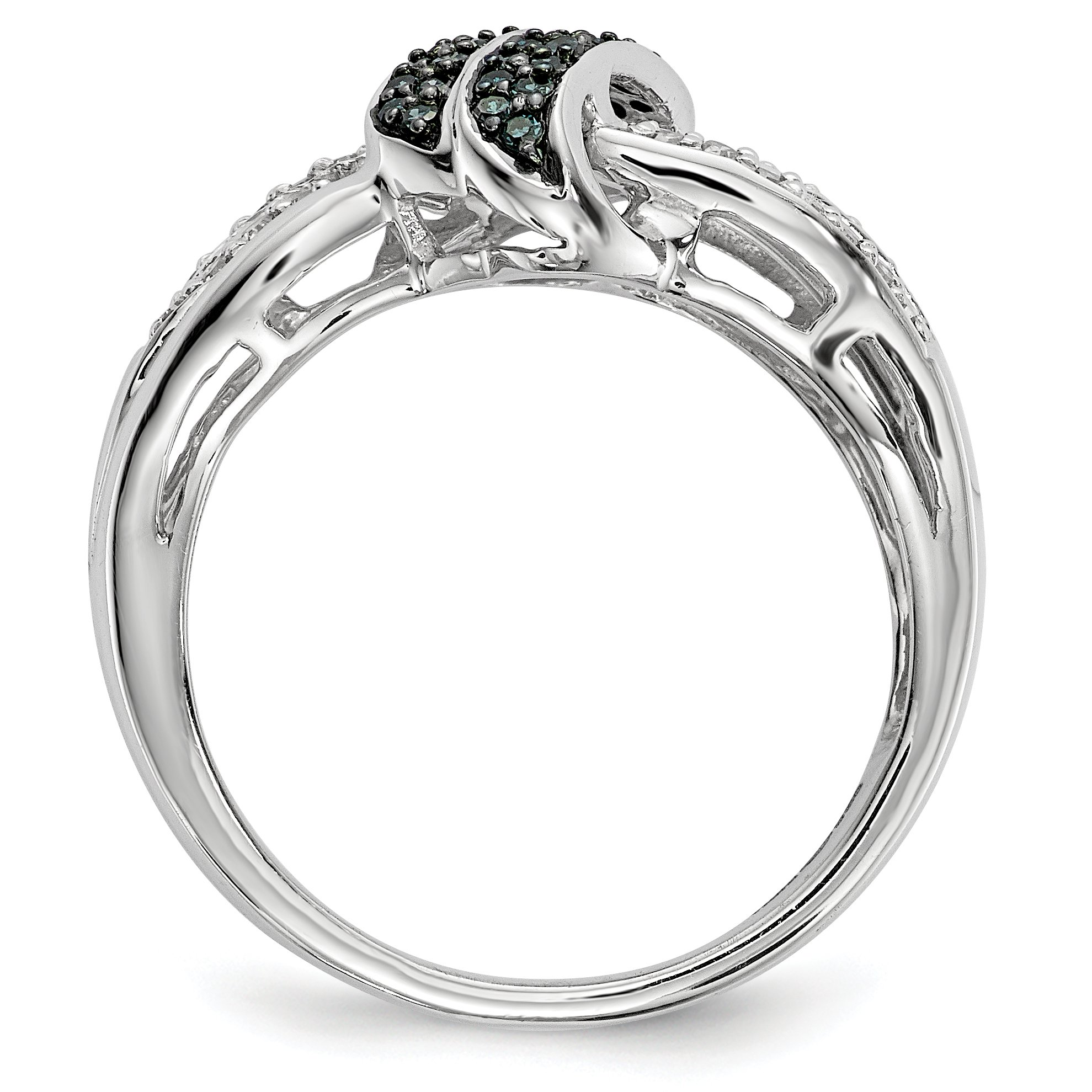 ICE CARATS 925 Sterling Silver White Blue Diamond Band Ring Size 6.00 Fine Jewelry Gift Set For Women Heart by ICE CARATS (Image #2)