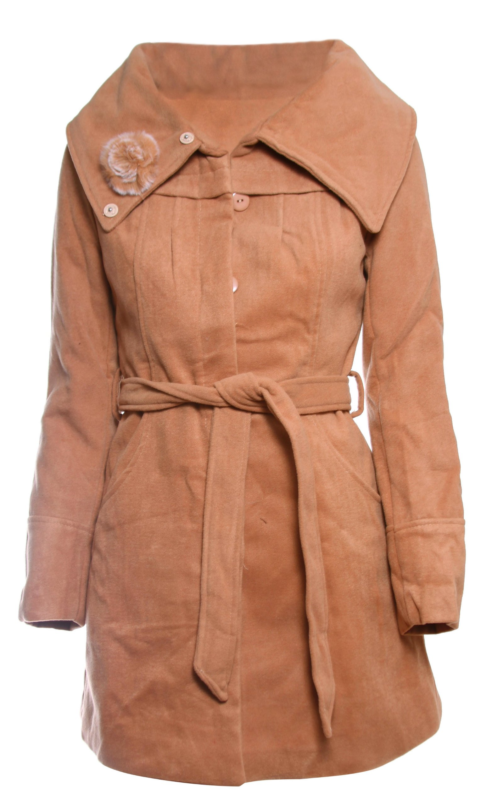 Chic Wool Coat with Rose adorned Vintage Collar in Long Sleeve, Camel, L