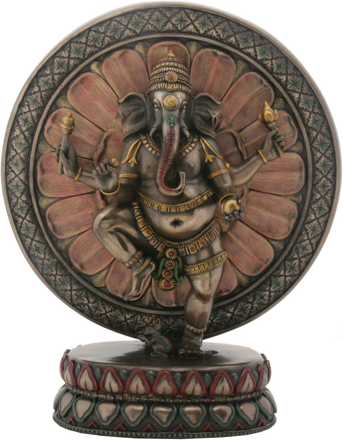 9 Inch Cold Cast Resin Hindu Deity Ganesha with Lotus Statue
