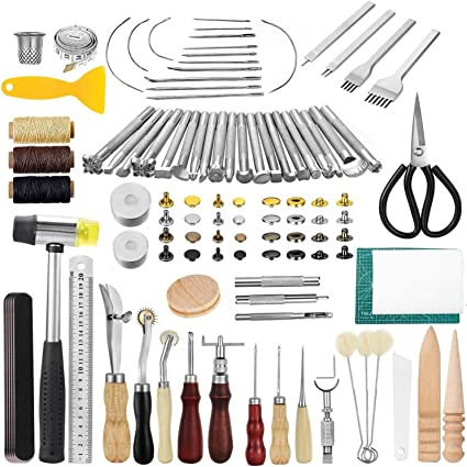 Leather Working Tools and Supplies Prong Punch Leather Working Saddle Making Tools Leather Craft Stamping Tools Rivets Tools Dorhui 356 Pieces Leathercraft Tools Kit Stitching Groover