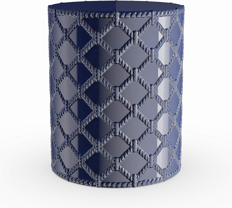 Navy Modern Ceramic Garden Stool Blue Water Resistant Weather