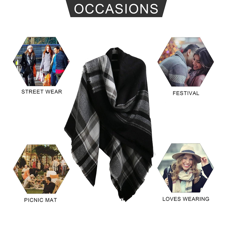 MissShorthair Fashionable Plaid Scarfs for Women Large Square Tartan Shawl Wrap with Fringe Trims