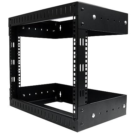 StarTech com 8U Open Frame Wall Mount Equipment Rack - Adjustable Depth  Wall Mount Server Rack - Wallmount Rack