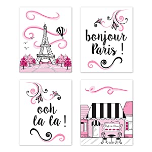 Sweet Jojo Designs Pink, Black and White Eiffel Tower Wall Art Prints Room Decor for Baby, Nursery, and Kids for Paris Collection - Set of 4 - French Cafe